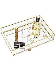 Gold Mirror Tray Jewelry Organizer Vanity Tray Jewelry Tray Perfume Tray Dresser Tray Decorative Tray, Glass Metal Makeup Tray for Bathroom Bedroom Cosmetics Storage, 11.8 x 7.9 Inch