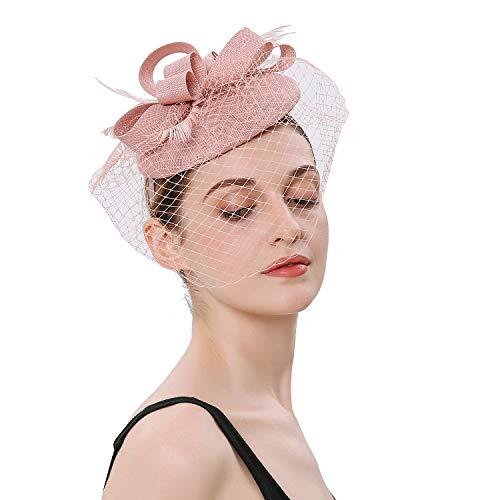 Forbeautiful Women's 1920s Veil Flower Kentucky Derby Fascinator Feather Mesh Net Headpiece Tea Party Headwear (Pink) ()