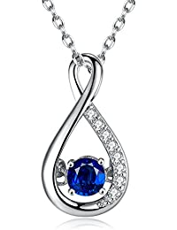 Sterling Silver Gemstone Created Blue Sapphire Infinity Pendant Necklace for Women, 18''