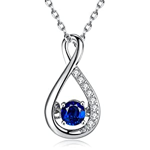 Caperci Sterling Silver Gemstone Created Blue Sapphire Infinity Pendant Necklace for Women, 18""