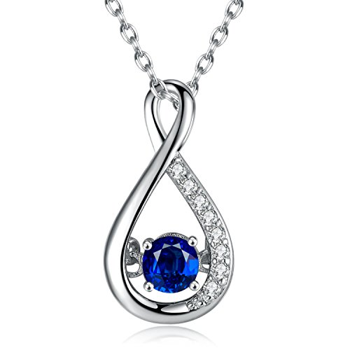 (Caperci Sterling Silver Gemstone Created Blue Sapphire Jewelry Infinity Pendant Necklace for Women, 18