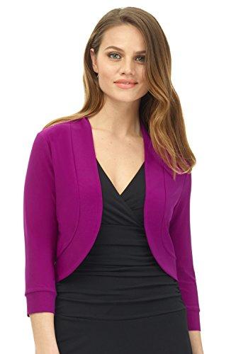 Rekucci Women's Soft Knit Rounded Hem Stretch Bolero Shrug (Medium,Magenta)