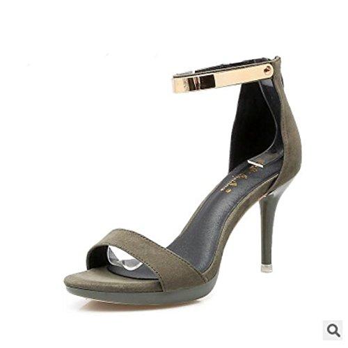 mujer para Green verano Stiletto Zapatos ZHZNVX Negro de verde lana comodidad amarillo sandalias de talón qfcAE