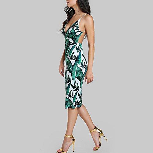 BURFLY Damen Sommer Mode Blatt Print Kleid VAusschnitt Elegant Sling ...