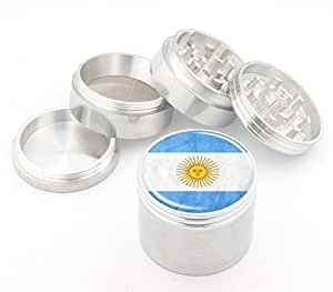 Argentina Flag Design Medium Size 4Pcs Aluminum Herbal or Tobacco Grinder # 50M050416-2