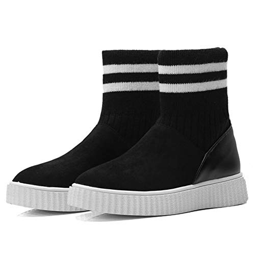 Top Flat Black Casual Platform High Boots Carolbar Women's nIcyaqTxRO
