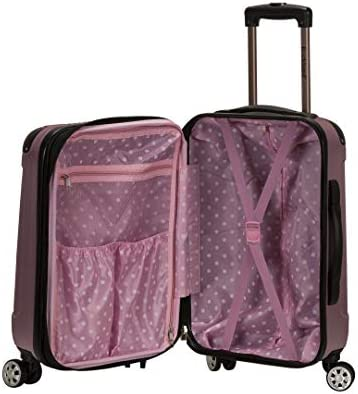 Rockland London Hardside Spinner Wheel Luggage, Pink, 3-Piece Set (20/24/28)