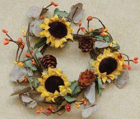 Dried Sunflower Ring Sage Olive Green Leaves Yellow Orange Rust Pips Pine Cones Country Primitive Décor