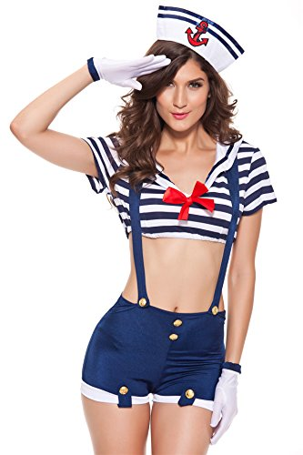 [TEMPT Women's Sexy Navy Cosplay Costume Sailor Outfits] (Sailor Outfits For Ladies)