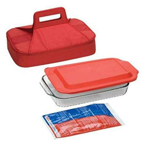 Pyrex Portable 4 Piece Set 3 Qt. Red