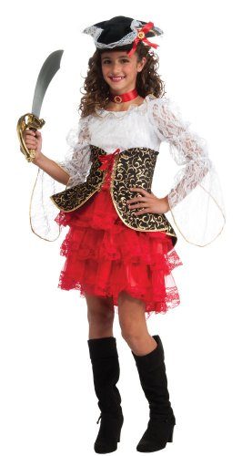 [Deluxe Child's Seven Seas Pirate Girl Costume, Small] (Victorian Costumes Rental)