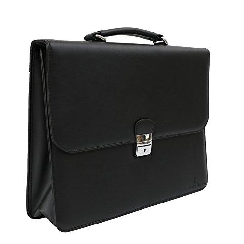 DEERLUX Men's Leather Laptop Briefcase, Black, One Size by DEERLUX (Image #3)