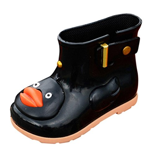 24 Baby Footwear Boots - LNGRY Shoes,Toddler Kids Baby Girls Boys Cartoon Duck Rubber Waterproof Anti-Slip Boots Rain Shoes (12-24 Months, Black)