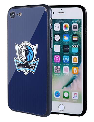 The Mass iPhone 8 case, iPhone 7 case, NBA Team Logo on Tempered Glass Back Cover and Soft TPU Frame for Apple iPhone 8/7 (Dallas Mavericks, 4.7 inch)