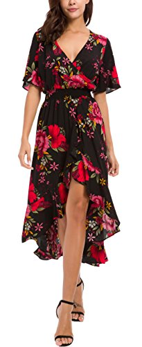 (KorMei Womens Short Sleeve Floral High Low V-Neck Flowy Party Long Maxi Dress L Black&Red)