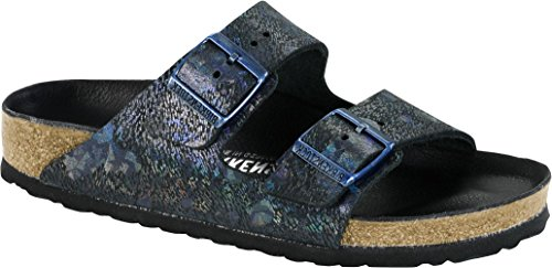 Birkenstock Womens Arizona Lux Slide Sandal Spotted Metallic Black Size 36 N EU (5-5.5 N US Women)