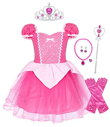 HenzWorld Little Girls Princess Aurora Costume Halloween Party Dress Up Outfit -