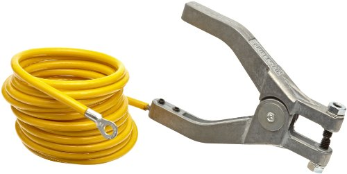 (Justrite 08497 10' Long Insulated Grounding Wire with Hand Clamp and 1-4'' Terminal)
