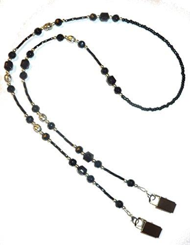 Hidden Hollow Beads Women's Beaded Lanyard 34 Inches, Bulldog Clips - Super Slim Black