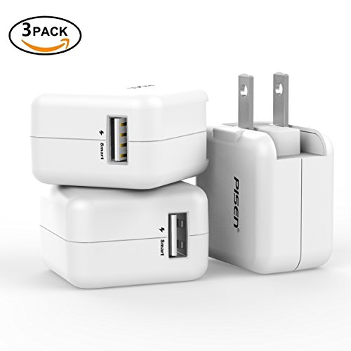 Wall Charger 3 Pack, Mini Charging Cube with Foldable Plug, PISEN 5V/2.4A USB AC Travel Adapter Plug Charging Block for Apple iPhone iPad Tablet Samsung HTC LG and More (White)