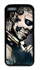 Custom Soft Black TPU Protective Case Cover for iPhone 5C,Skeleton Man Case Shell for iPhone 5C