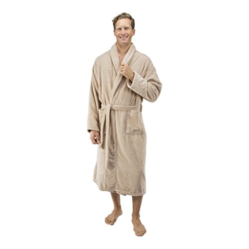 Comfy Robes Personalized Men's 16 oz. Turkish Terry Cotton Bathrobe, L/XL (OSFM) Tall Beige by Comfy Robes (Image #3)