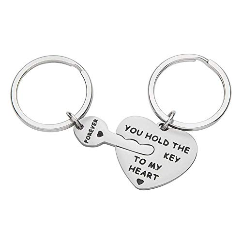 (Couples Gifts Keychains for Girlfriend Wife Boyfriend Husband Him Her -Puzzle Key Ring- You Hold The Key to My Heart Forever -Birthday,Wedding, Anniversary Valentine)