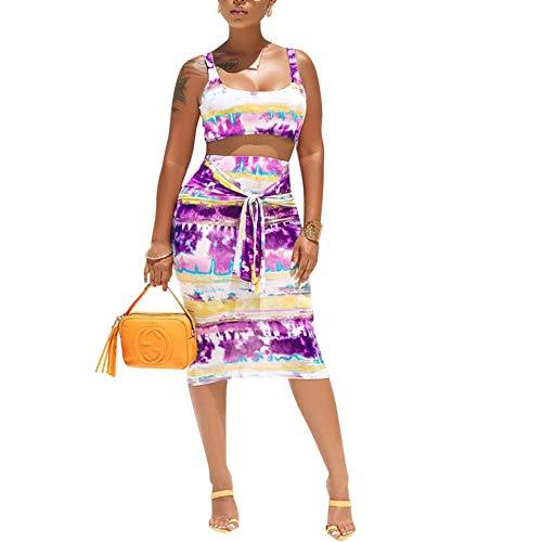 Women's Casual Summer Tye Die Tank Crop Top Maxi Skirt Set Bodycon 2 Piece Floral Dress Purple S