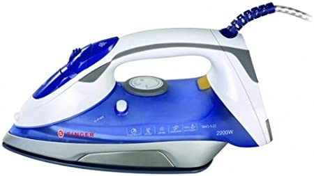 Singer SNG 5.22 Plancha de vapor, 2200 W, 0.25 litros, Azul, Blanco