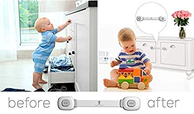 Baby Safety Cabinet Locks | Baby Proofing | Door Latch | Cabinet Locks | Refrigerator Lock | Edge Protectors | Drawer Locks Child Safety | Door Locks for Kids |No Tools |Easy To Install (4 + 4 Pack)