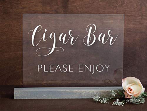 Cigar Bar Wedding Sign: Clear Acrylic Cigar Bar Sign on a Weathered Oak Wood Stand w/Hand Painted