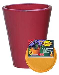 Bajo Juego: Macetero inclusive FlowerPad profesional drenaje Macetero a las heladas redonda (25X 30cm Diámetro, color color rojo, forma 008.030.12para interior y exterior–Calidad de hentschke cerámica