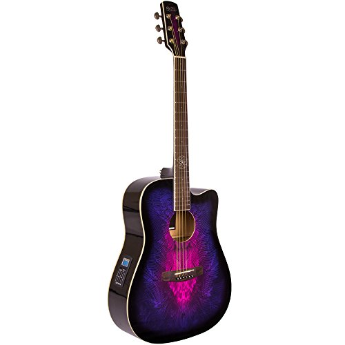 Lindo Purple Swallow Electric Electro Acoustic Guitar with Dreamcatcher Inlay & Gig Bag