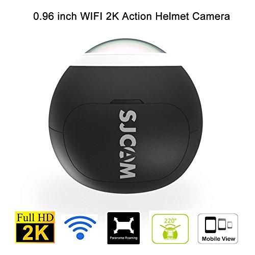 Original SJCAM SJ360 Camera 12MP Sony IMX206 Sensor 2K Mini Panoramic Camera 220 Degree Sport VR Camera WIFI Action Camera Sport DV Riding Recorder(Black)+1pcs Extra Battery Action Cameras Legazone