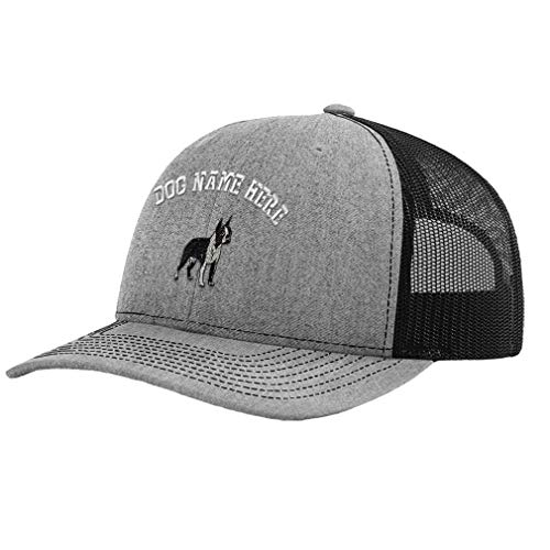 (Custom Richardson Trucker Hat Boston Terrier A Embroidery Dog Name Polyester Baseball Mesh Cap Snaps - Heather Gray/Black, Personalized Text Here)
