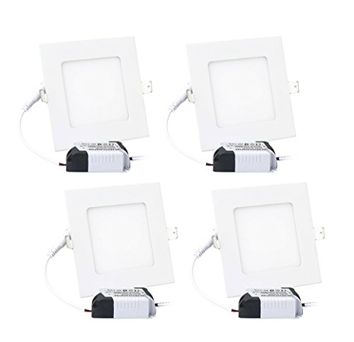 9W 4'' Ultra Thin Dimmable LED Recessed Lighting Fixture Retrofit Downlight - 6000K Daylight Cool White - Square LED Ceiling Light - 900 Lumens, 70W Equivalent, 4 Pack by LVJING