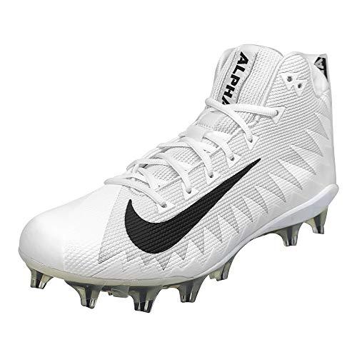 Nike Alpha Menace Pro Mid Mens Football Cleats (11.5, White/Black/Black) (Alpha Pro Cleats)