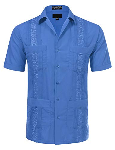 JD Apparel Men's Short Sleeve Cuban Guayabera Shirts19-19.5N 3XL French - Short Sleeve Cotton Hem