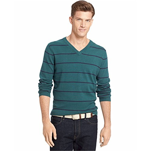 Izod Fine Gauge Striped V-Neck Sweater June Bug Green Cotton Small (Sweater Green Cotton Stripe)