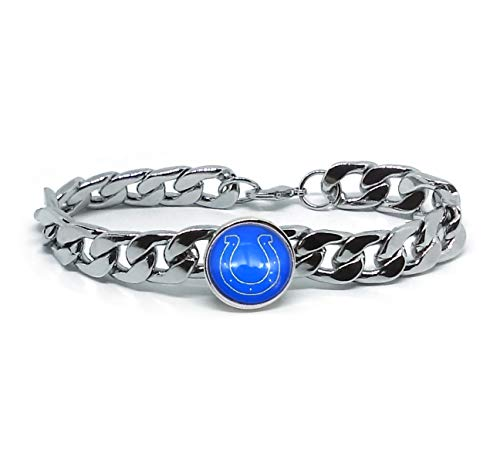 Devastating Designs Indianapolis Colts Men's Women's Silver Stainless Steel Link Chain Bracelet Football - Steel Womens Stainless Indianapolis Colts