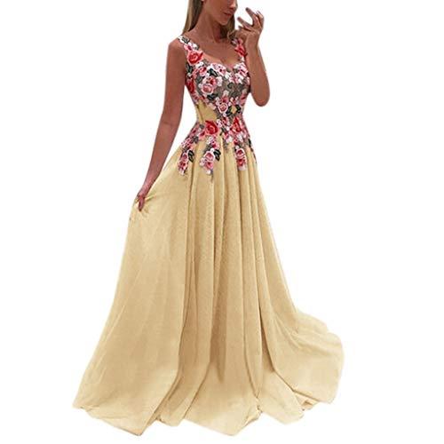 Aunimeifly Women Lace Applique Patchwork Elegant Bridesmaid Dresses Sleeveless Swing Wedding Chiffon Dress Yellow (Petticoat Line Wedding A)