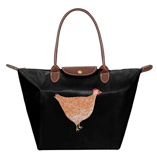 Tote Bag Beach Painting Hobo Black Chicken Womens Fashion Bags Shoulder Handbag nwq1FxX8A