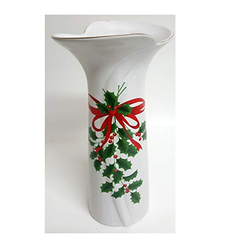 Action Industries Vintage 1989 Mount Clemons Pottery Ribbon & Holly Christmas Holiday Stoneware Vase