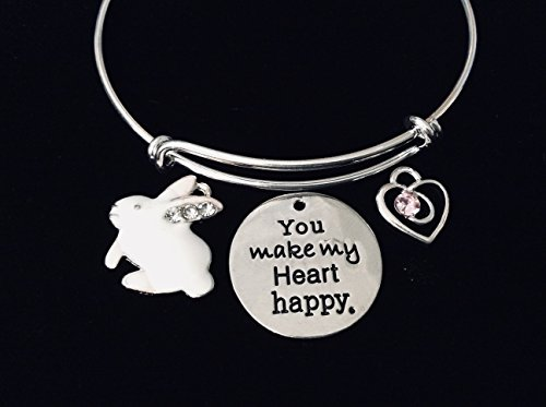 Bunny You Make My Heart Happy Expandable Charm Bracelet Silver Adjustable Bangle Trendy Bunny Rabbit Easter Gift Pink Crystal Heart Personalization Custom Option Child Size Option -