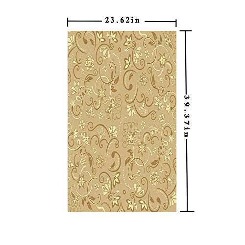 3D No Glue Static Decorative Privacy Window Films,Swirling Flowers Vintage Style Feminine Floral Motifs Retro Edwardian Period Inspired Decorative,W15.7xL63in,for Home Office with Mode Beige