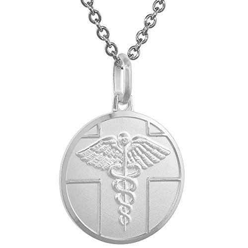 - Sterling Silver Medical Alert Necklace Round 3/4 inch Italy