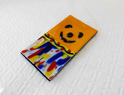 Orange Fused Glass Halloween Scarecrow Pumpkin Soap Dish Spoon Rest ()