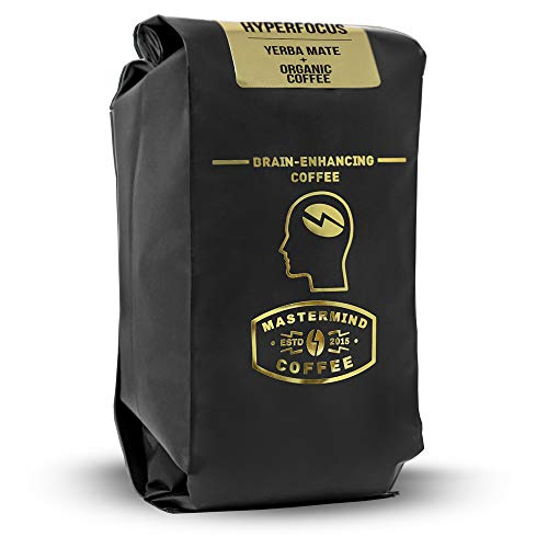 Hyperfocus - Brain Enhancing Nootropic Coffee, GROUND 100% Organic-Coffee Blended with Yerba Mate for Drip - Boosts Mental Clarity, Better Memory & All-day Energy (10oz)