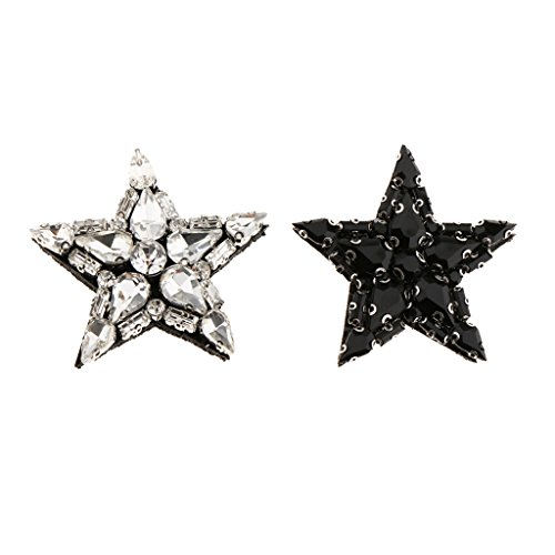 Jili Online 2 Pieces Star Glass Beaded Rhinestone Patch Embroidery Sew on Applique DIY Decoration