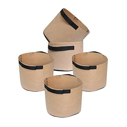 HONGVILLE 5-Pack Grow Bags/Aeration Fabric Pots w/Handles (3-Gallons, Tan)